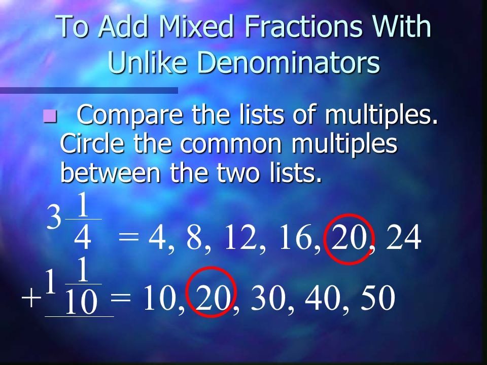 To Add Mixed Fractions With Unlike Denominators 1 = 4, 8, 12, 16, 20, 24 1 = 10, 20, 30, 40, 50+ 10 3 1 4 Use the least common Use the least common multiple as the denominator.
