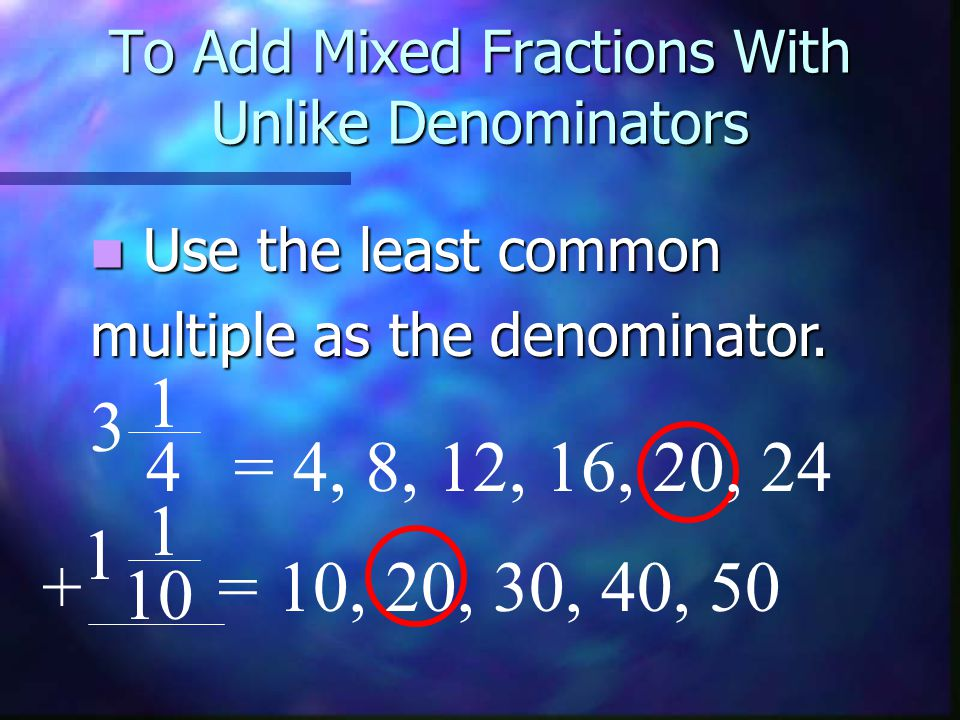 To Add Mixed Fractions With Unlike Denominators 1 = 4, 8, 12, 16, 20, 24 1 = 10, 20, 30, 40, 50+ 10 3 1 4 This number is also called This number is also called the least common denominator.