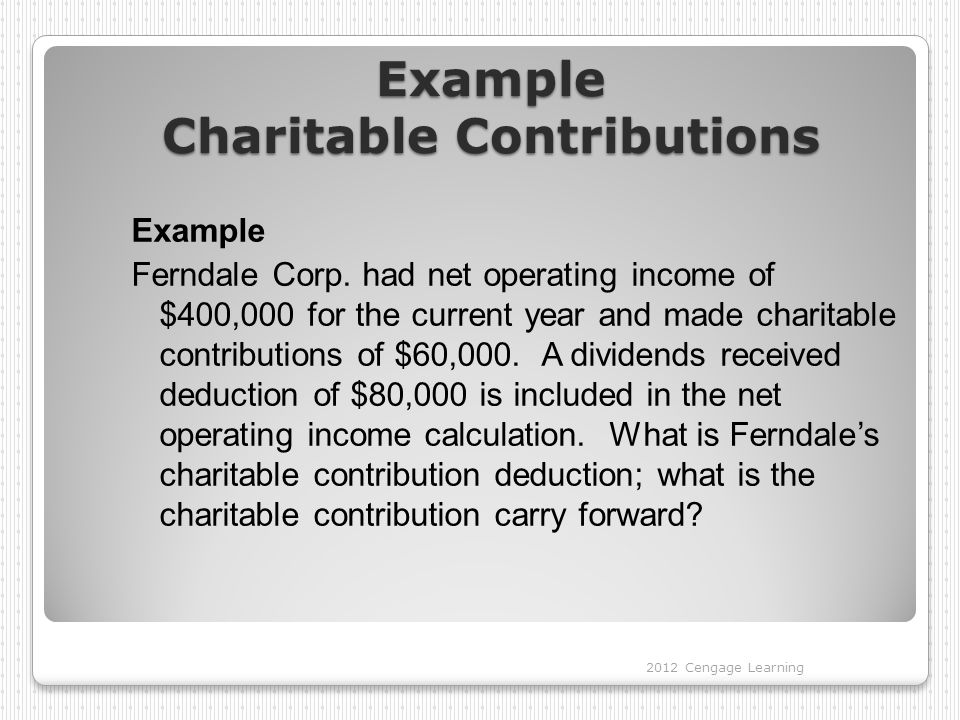 Example Charitable Contributions Example Ferndale Corp.