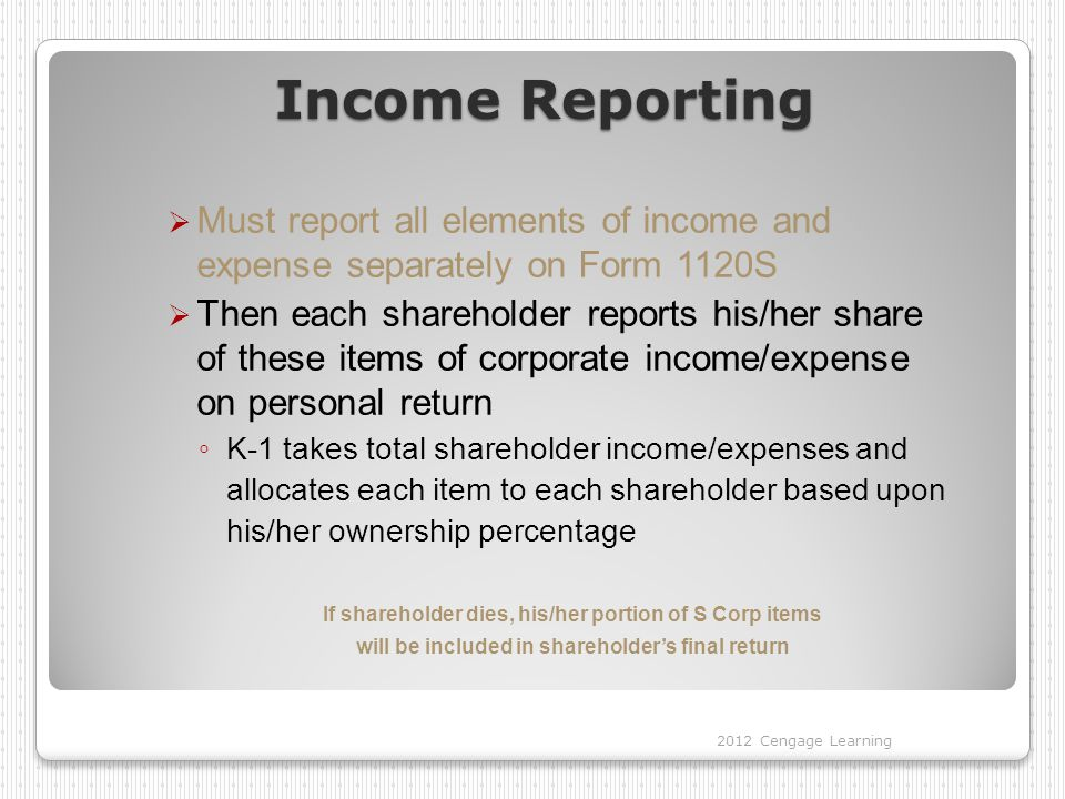 Income Reporting  Must report all elements of income and expense separately on Form 1120S  Then each shareholder reports his/her share of these items of corporate income/expense on personal return ◦ K-1 takes total shareholder income/expenses and allocates each item to each shareholder based upon his/her ownership percentage If shareholder dies, his/her portion of S Corp items will be included in shareholder's final return 2012 Cengage Learning
