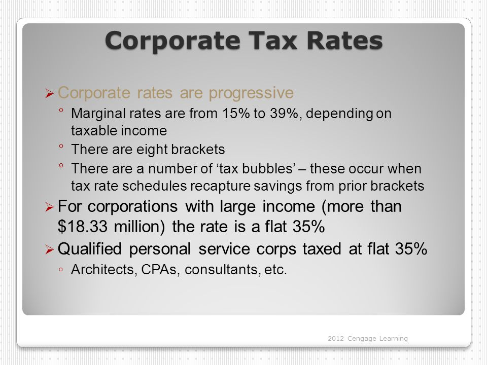 Corporate Tax Rates  Corporate rates are progressive °Marginal rates are from 15% to 39%, depending on taxable income °There are eight brackets °There are a number of 'tax bubbles' – these occur when tax rate schedules recapture savings from prior brackets  For corporations with large income (more than $18.33 million) the rate is a flat 35%  Qualified personal service corps taxed at flat 35% ◦ Architects, CPAs, consultants, etc.