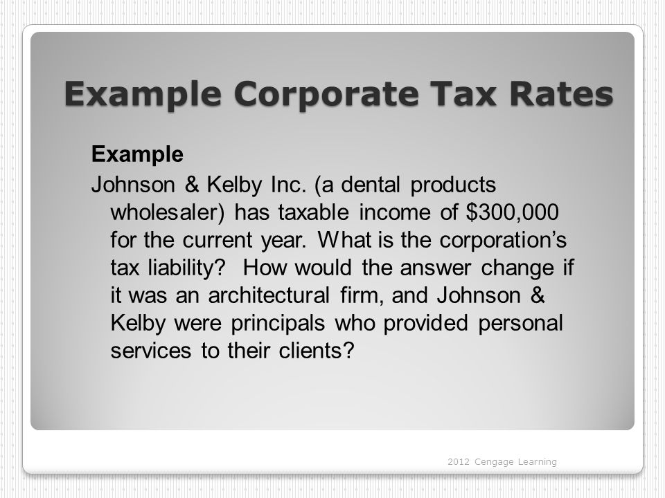 Example Corporate Tax Rates Example Johnson & Kelby Inc.