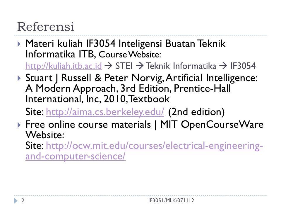 Referensi  Materi kuliah IF3054 Inteligensi Buatan Teknik Informatika ITB, Course Website: http://kuliah.itb.ac.idhttp://kuliah.itb.ac.id  STEI  Te