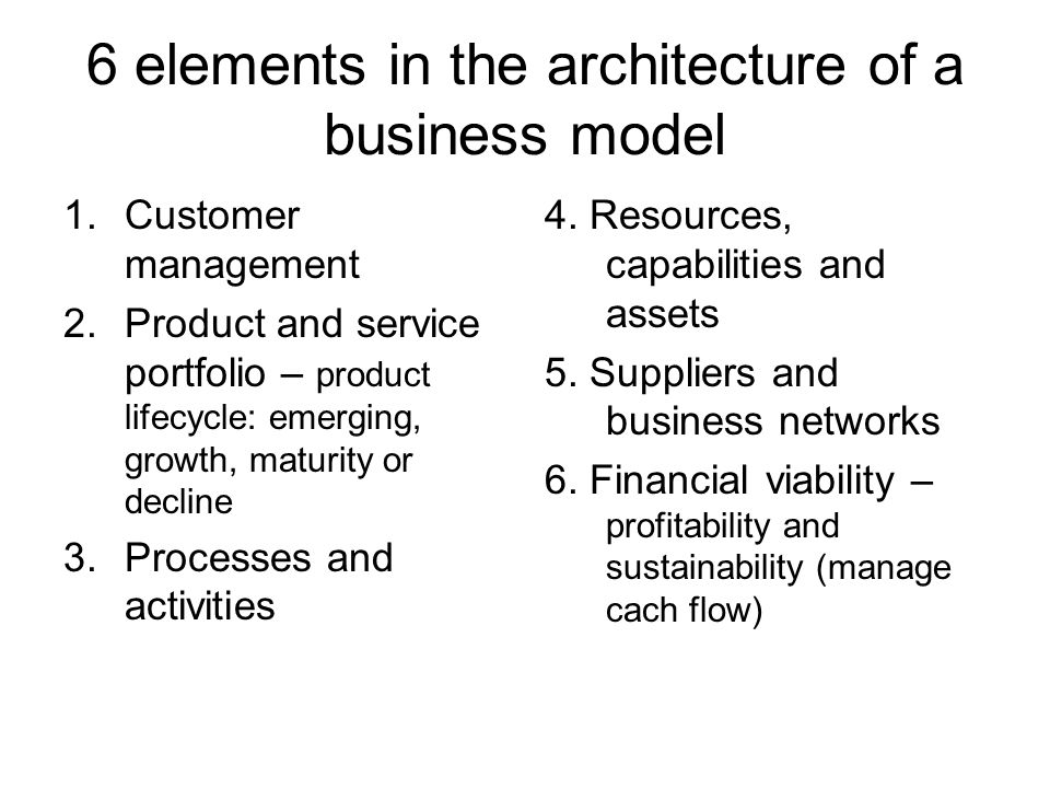 6 elements in the architecture of a business model 1.Customer management 2.Product and service portfolio – product lifecycle: emerging, growth, maturity or decline 3.Processes and activities 4.