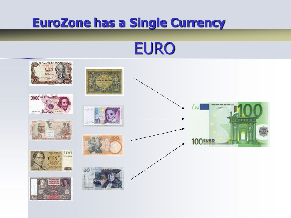EuroZone has a Single Currency EURO