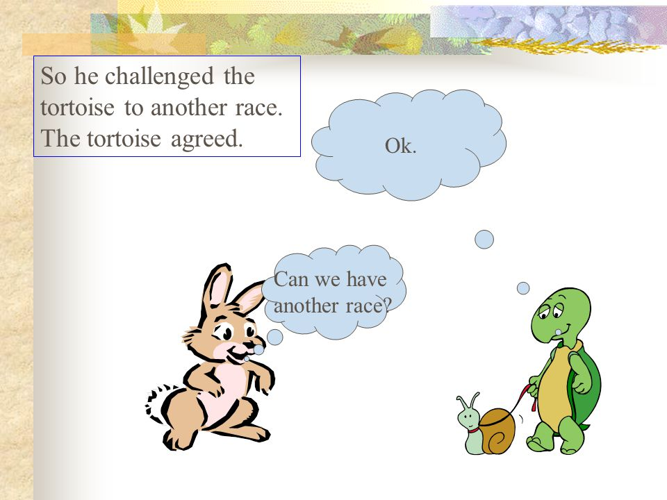 The hare was disappointed at losing the race and he did some soul-searching.