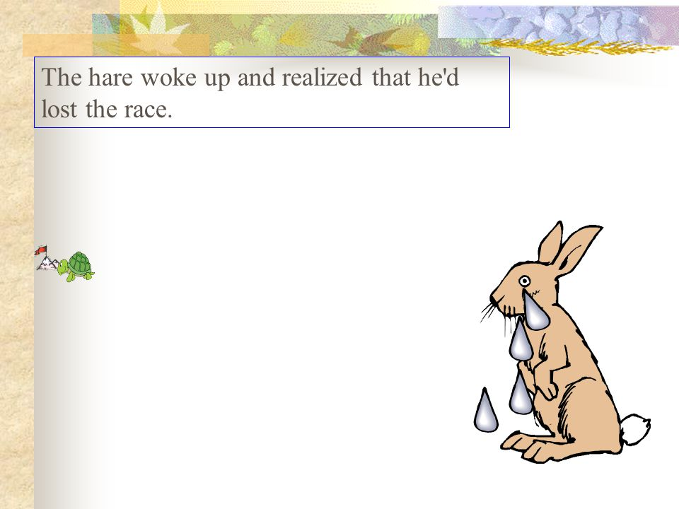 The hare woke up and realized that he d lost the race.