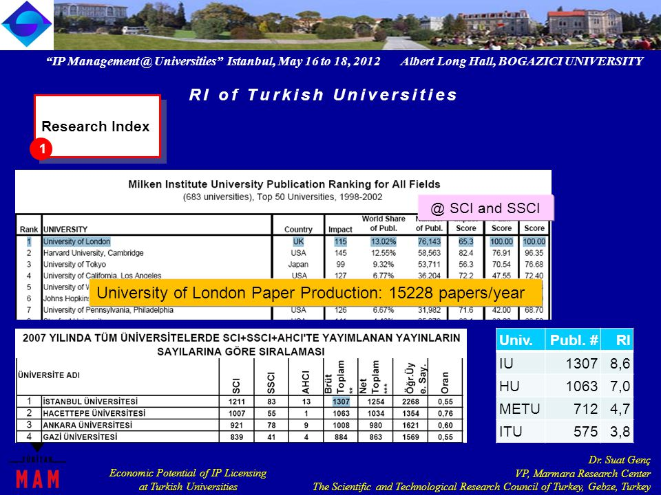 IP Management @ Universities Istanbul, May 16 to 18, 2012 Albert Long Hall, BOGAZICI UNIVERSITY Economic Potential of IP Licensing at Turkish Universities Dr.