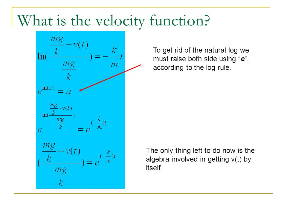 What is the velocity function.We have the final function but the real question is: IS IT TRUE.