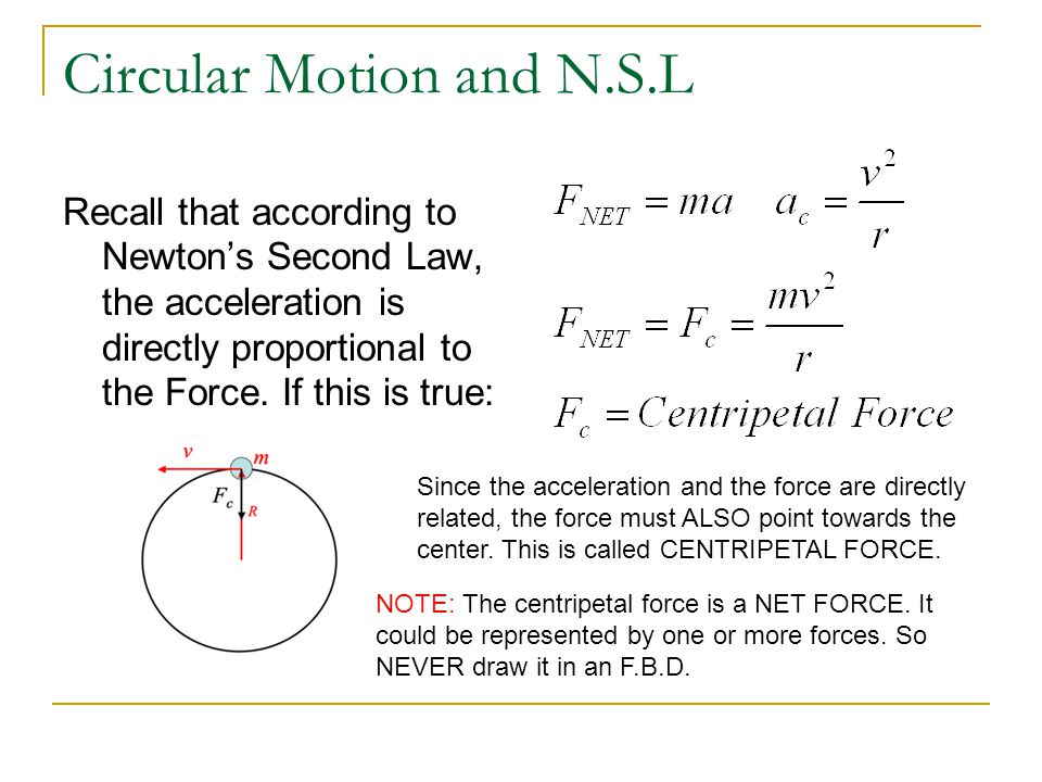 Circular Motion and N.S.L Recall that according to Newton's Second Law, the acceleration is directly proportional to the Force. If this is true: Since