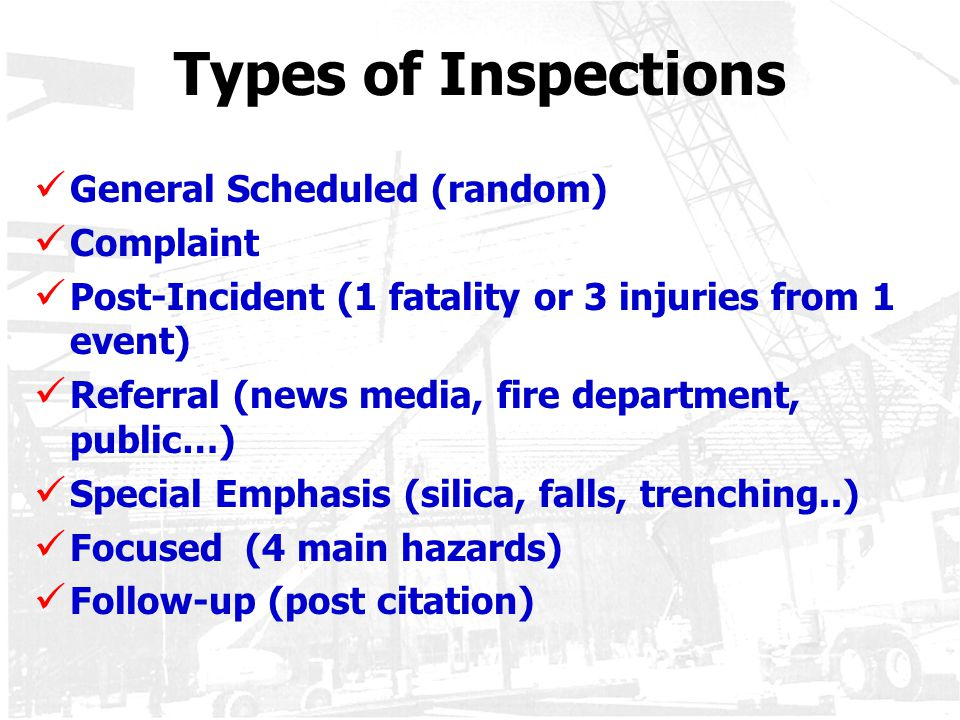 Types of Inspections General Scheduled (random) Complaint Post-Incident (1 fatality or 3 injuries from 1 event) Referral (news media, fire department,