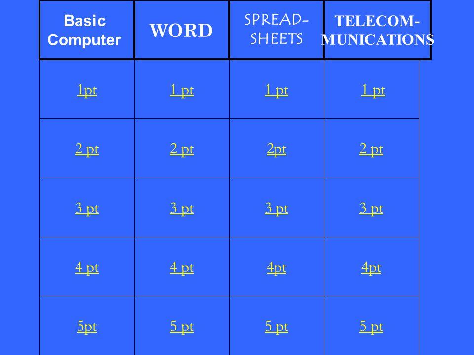 2 pt 3 pt 4 pt 5pt 1 pt 2 pt 3 pt 4 pt 5 pt 1 pt 2pt 3 pt 4pt 5 pt 1 pt 2 pt 3 pt 4pt 5 pt 1pt Basic Computer WORD SPREAD- SHEETS TELECOM- MUNICATIONS