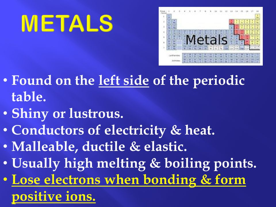 Found on the left side of the periodic table. Shiny or lustrous. Conductors of electricity & heat. Malleable, ductile & elastic. Usually high melting