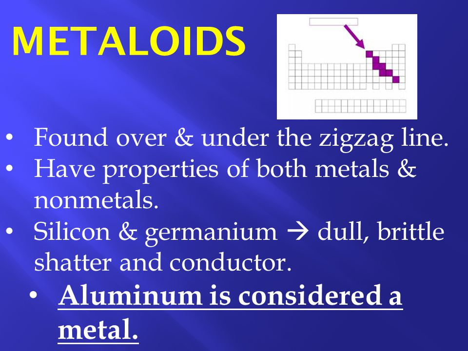 Found over & under the zigzag line. Have properties of both metals & nonmetals. Silicon & germanium  dull, brittle shatter and conductor. Aluminum is