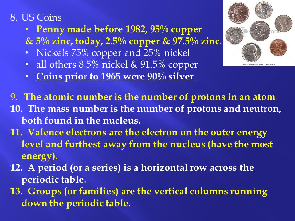 8.US Coins Penny made before 1982, 95% copper & 5% zinc, today, 2.5% copper & 97.5% zinc. Nickels 75% copper and 25% nickel all others 8.5% nickel & 9
