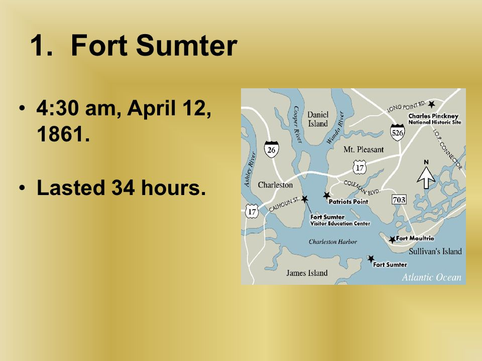 1. Fort Sumter 4:30 am, April 12, 1861. Lasted 34 hours. Only casualty a Confederate horse.