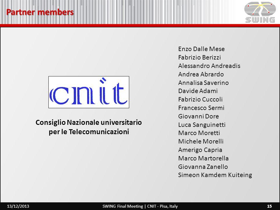 Partner members 15SWING Final Meeting | CNIT - Pisa, Italy13/12/2013 Enzo Dalle Mese Fabrizio Berizzi Alessandro Andreadis Andrea Abrardo Annalisa Sav