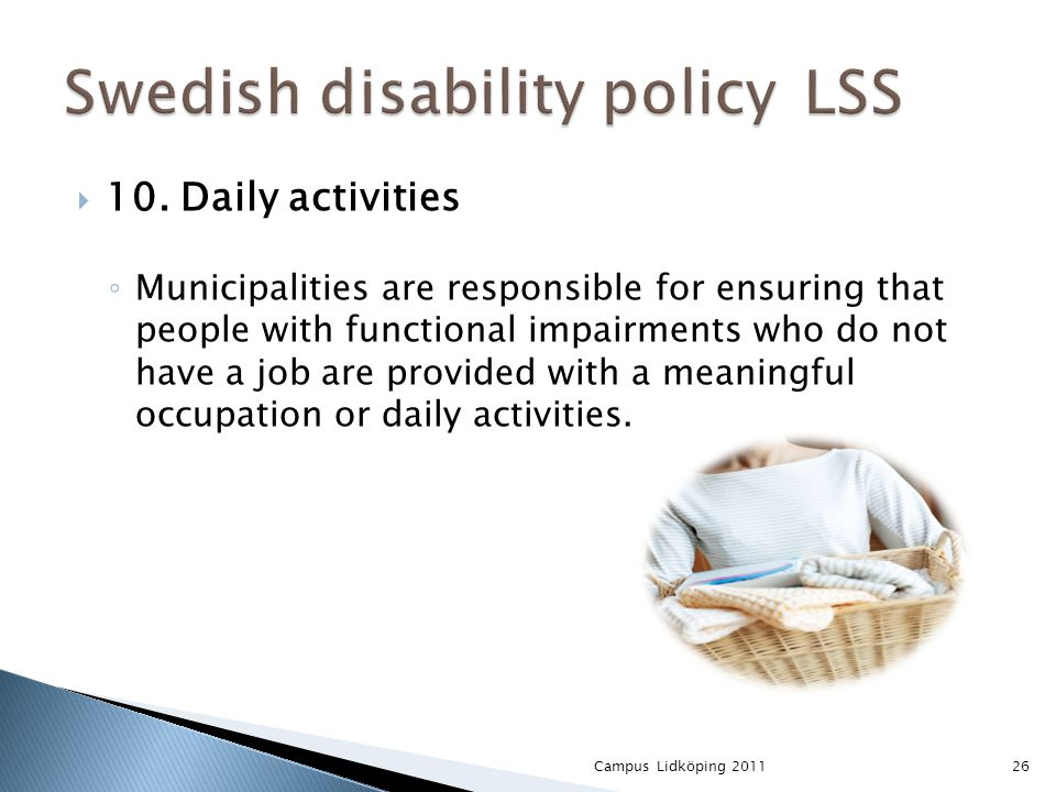  10. Daily activities ◦ Municipalities are responsible for ensuring that people with functional impairments who do not have a job are provided with a