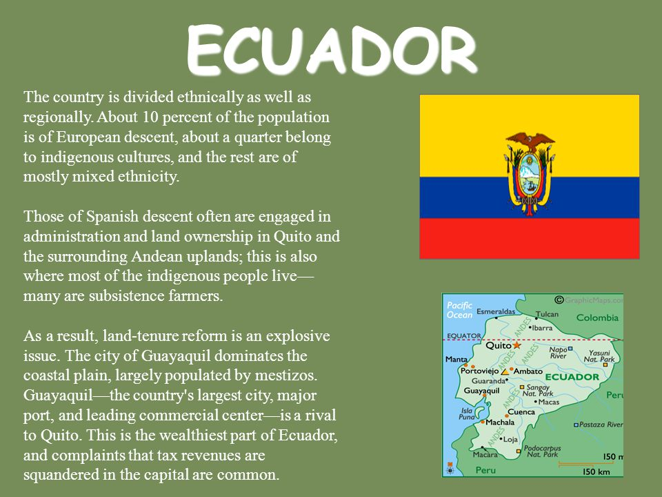ECUADOR The country is divided ethnically as well as regionally. About 10 percent of the population is of European descent, about a quarter belong to