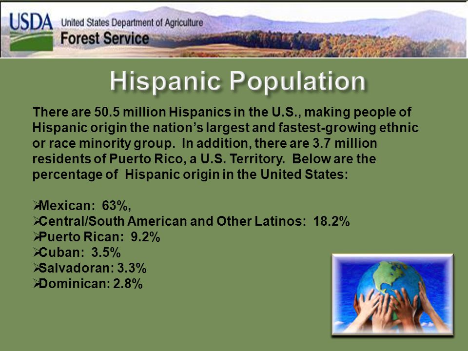 There are 50.5 million Hispanics in the U.S., making people of Hispanic origin the nation's largest and fastest-growing ethnic or race minority group.