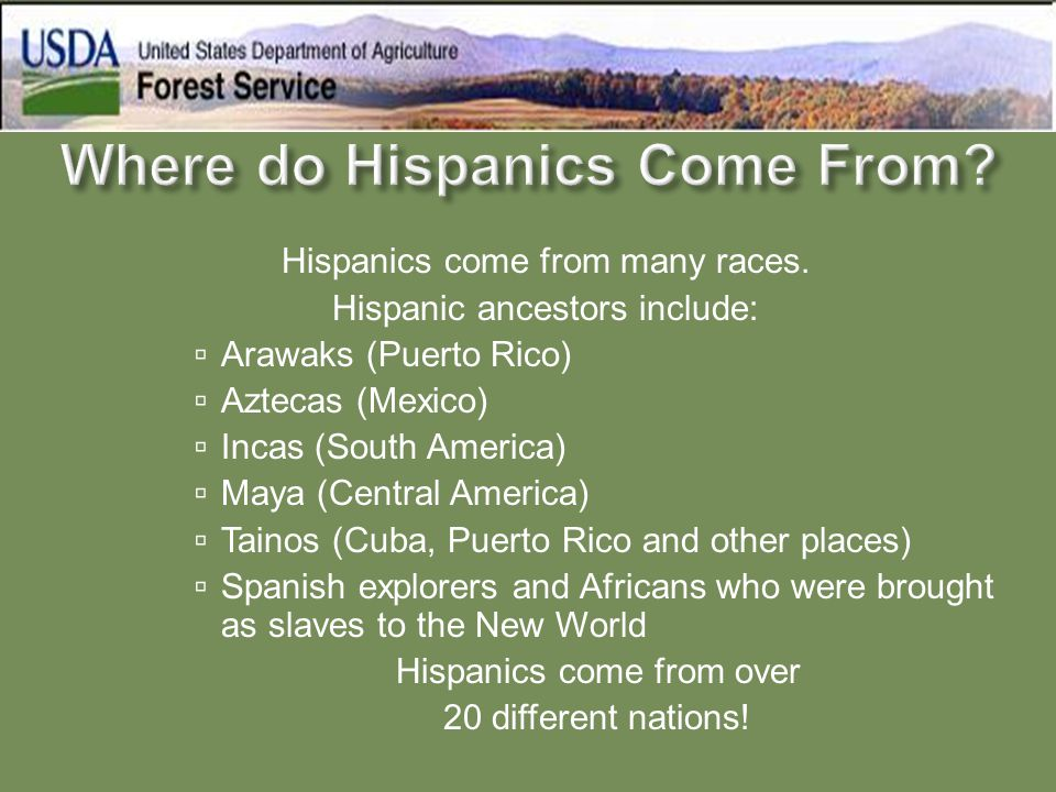 Hispanics come from many races. Hispanic ancestors include:  Arawaks (Puerto Rico)  Aztecas (Mexico)  Incas (South America)  Maya (Central America