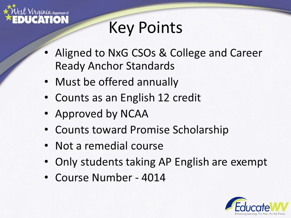 Key Points Aligned to NxG CSOs & College and Career Ready Anchor Standards Must be offered annually Counts as an English 12 credit Approved by NCAA Co
