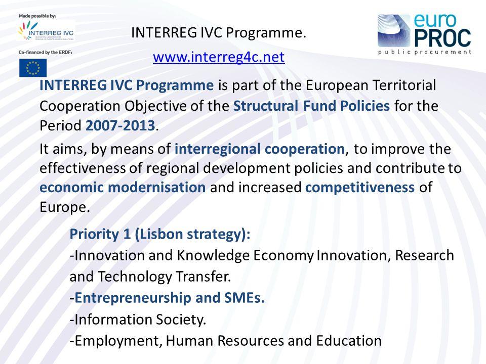 INTERREG IVC Programme.