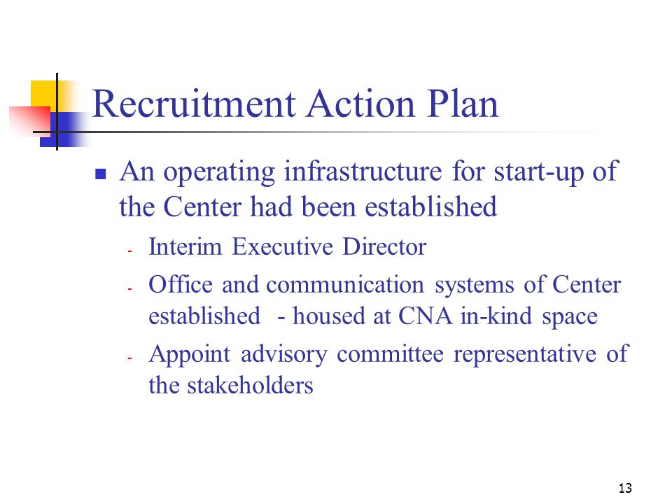 13 Recruitment Action Plan An operating infrastructure for start-up of the Center had been established - Interim Executive Director - Office and communication systems of Center established - housed at CNA in-kind space - Appoint advisory committee representative of the stakeholders