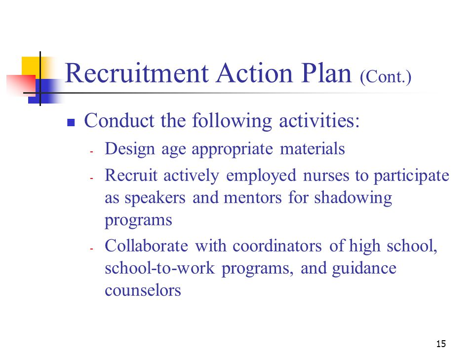 15 Recruitment Action Plan (Cont.) Conduct the following activities: - Design age appropriate materials - Recruit actively employed nurses to participate as speakers and mentors for shadowing programs - Collaborate with coordinators of high school, school-to-work programs, and guidance counselors