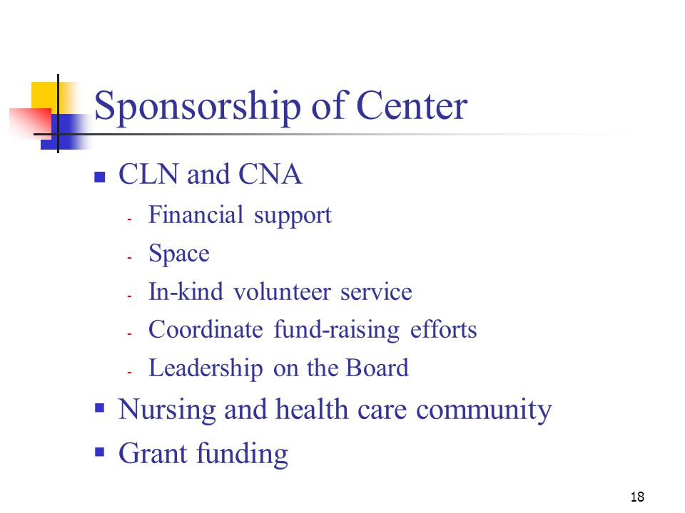 18 Sponsorship of Center CLN and CNA - Financial support - Space - In-kind volunteer service - Coordinate fund-raising efforts - Leadership on the Board  Nursing and health care community  Grant funding