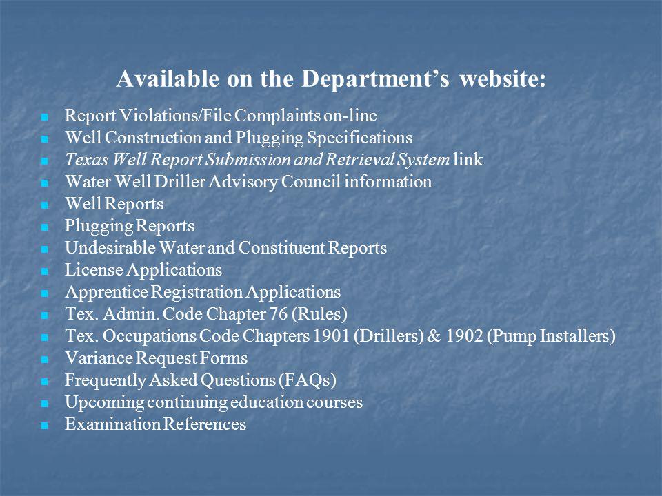Water Well Driller/Pump Installer Web Page