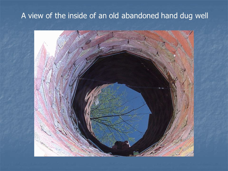 A view of the inside of an old abandoned hand dug well