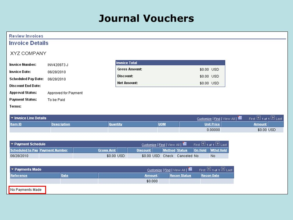 Journal Vouchers XYZ COMPANY