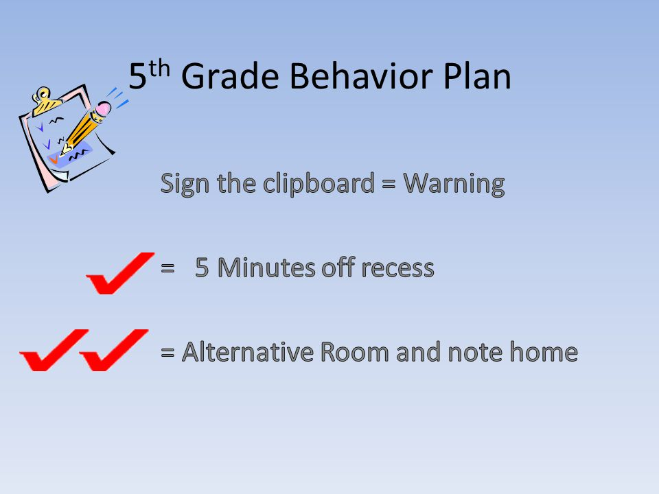 5 th Grade Behavior Plan