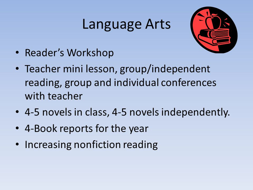 Language Arts Reader's Workshop Teacher mini lesson, group/independent reading, group and individual conferences with teacher 4-5 novels in class, 4-5
