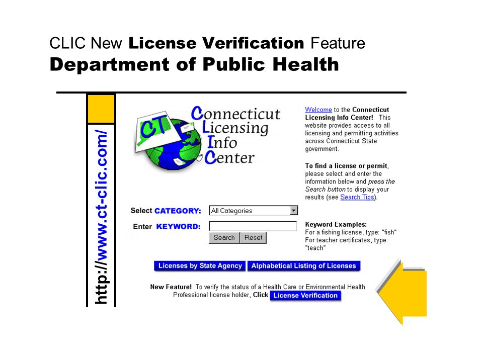 CLIC New License Verification Feature Department of Public Health
