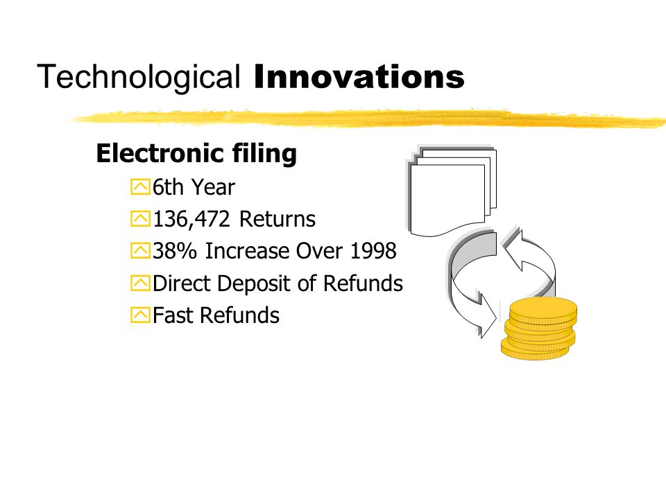 Electronic filing y6th Year y136,472 Returns y38% Increase Over 1998 yDirect Deposit of Refunds yFast Refunds Technological Innovations