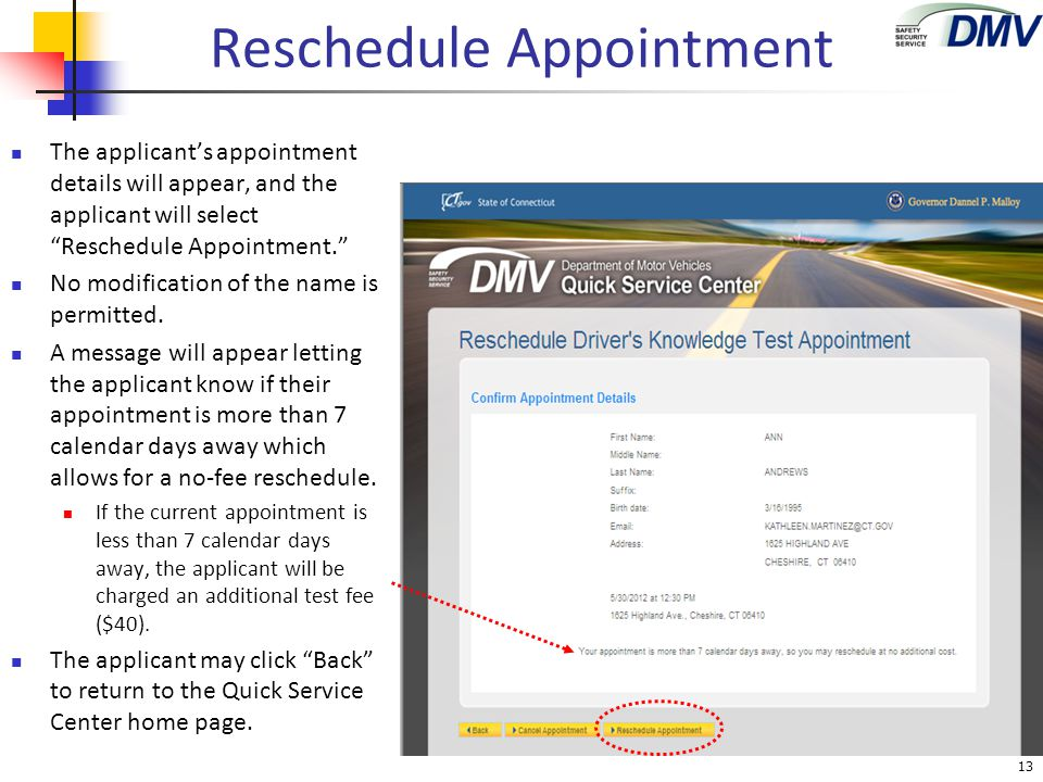 "Reschedule Appointment The applicant's appointment details will appear, and the applicant will select ""Reschedule Appointment."" No modification of the"
