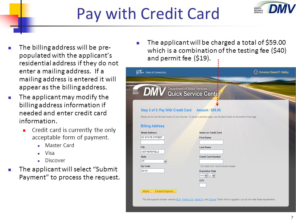 Pay with Credit Card If the applicant has omitted any credit card information, error messages will appear requiring the applicant to enter necessary information.