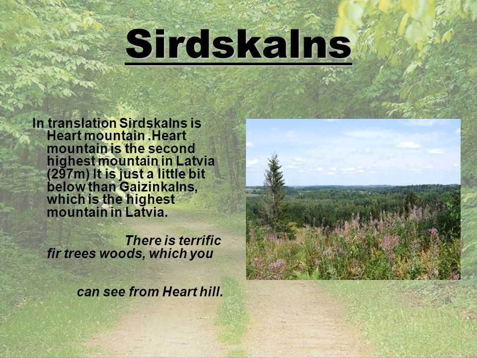 Sirdskalns In translation Sirdskalns is Heart mountain.Heart mountain is the second highest mountain in Latvia (297m) It is just a little bit below th