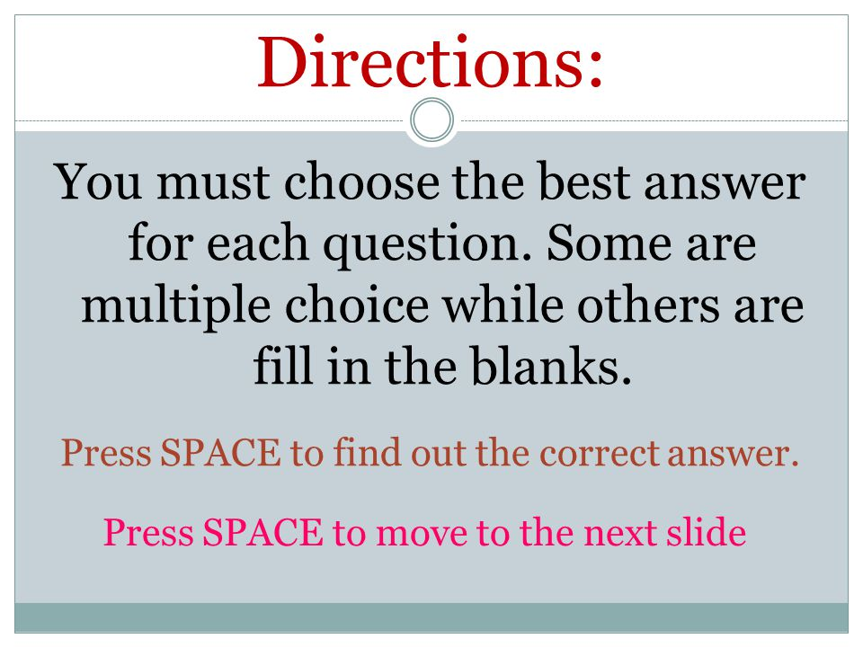 Are you ready? FIRST CATEGORY: Electricity and Magnetism Press SPACE to move to the next slide