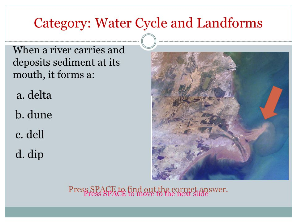 Category: Water Cycle and Landforms When a river carries and deposits sediment at its mouth, it forms a: a.