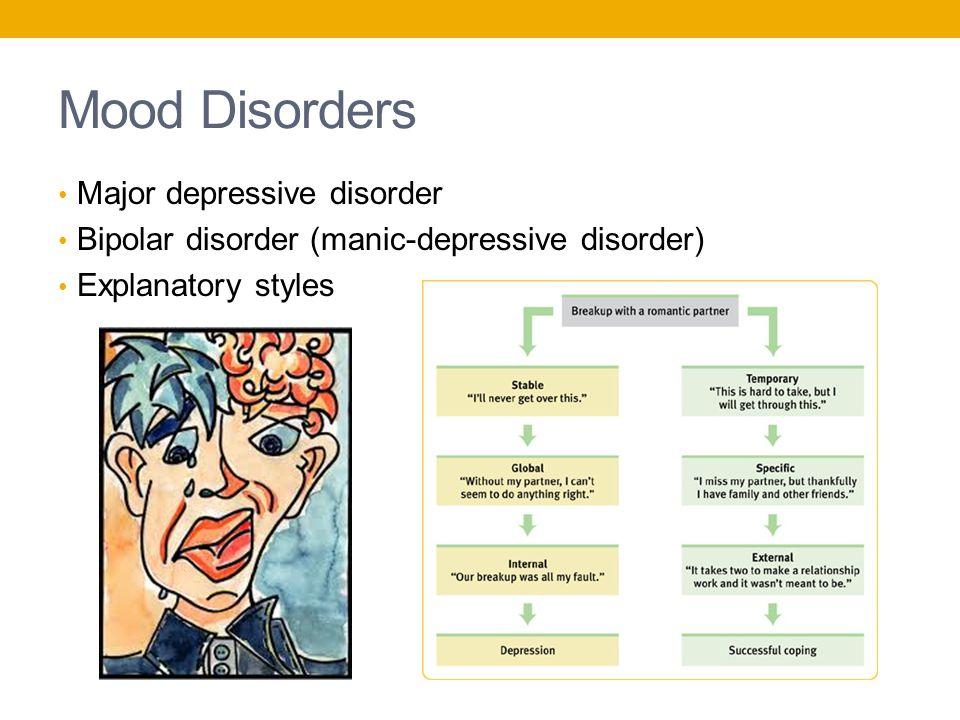 Mood Disorders Major depressive disorder Bipolar disorder (manic-depressive disorder) Explanatory styles