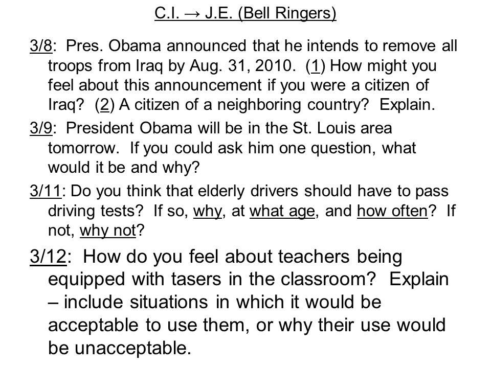 C.I. → J.E. (Bell Ringers) 3/8: Pres.