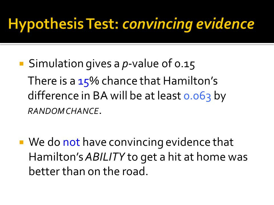  Simulation gives a p-value of 0.15 There is a 15% chance that Hamilton's difference in BA will be at least 0.063 by RANDOM CHANCE.