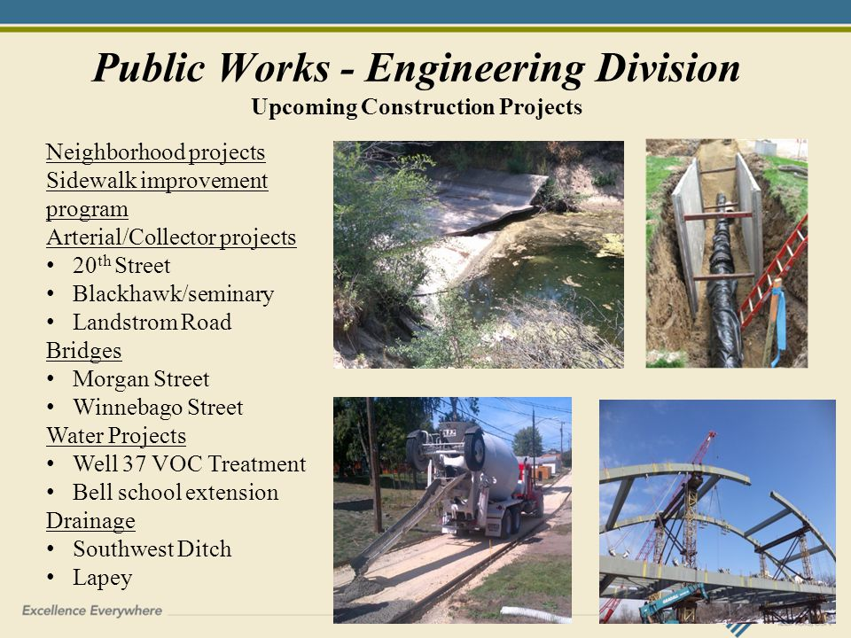 Public Works - Engineering Division Upcoming Construction Projects Neighborhood projects Sidewalk improvement program Arterial/Collector projects 20 th Street Blackhawk/seminary Landstrom Road Bridges Morgan Street Winnebago Street Water Projects Well 37 VOC Treatment Bell school extension Drainage Southwest Ditch Lapey