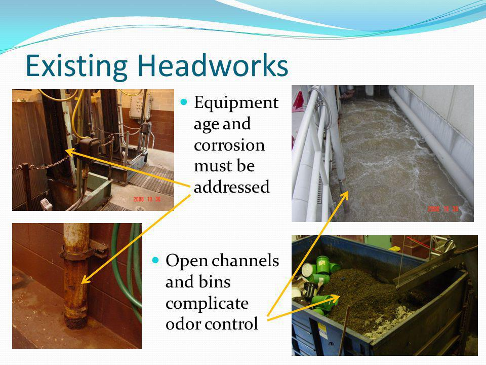 Existing Headworks Equipment age and corrosion must be addressed Open channels and bins complicate odor control