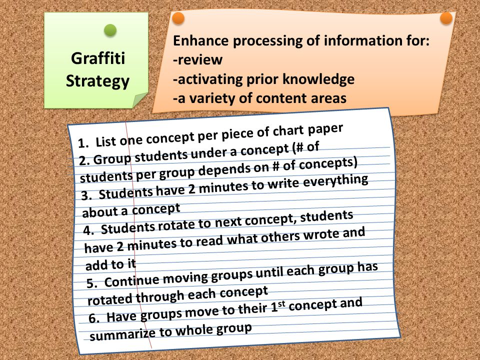 Placemat Strategy To deepen understanding, provide guided practice or extend learning on a concept To provide students with an opportunity to share ideas and learn from each other in a cooperative small-group discussion 1.Divide class in up to groups of 4 2.Use chart or other paper and provide a large piece for each group.