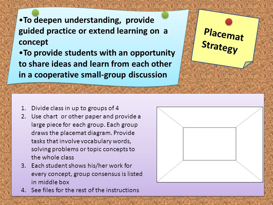 Placemat Strategy To deepen understanding, provide guided practice or extend learning on a concept To provide students with an opportunity to share id