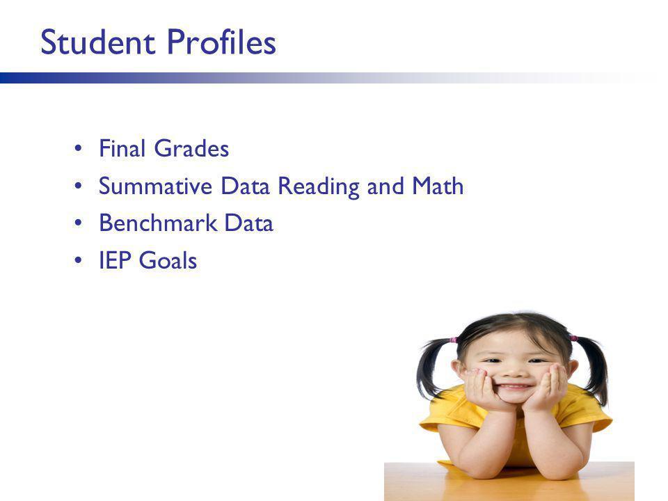 Student Profiles 14 Final Grades Summative Data Reading and Math Benchmark Data IEP Goals